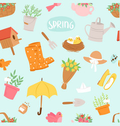 Spring natural floral symbols with blossom vector