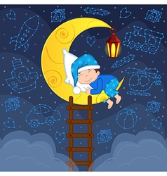 baby boy sleeping on moon among stars vector image vector image