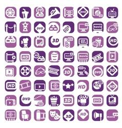 big color cinema icons set vector image