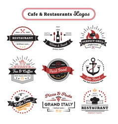cafe and restaurant logos vintage design vector image
