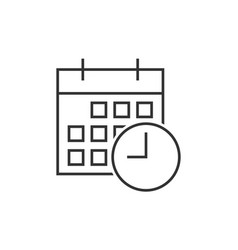 calendar with clock icon vector image vector image
