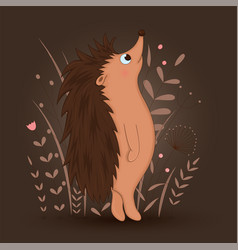 gift postcard with cartoon animal hedgehog vector image