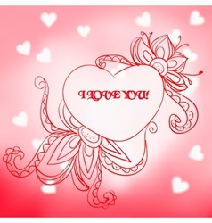 Lace heart with the inscription I love you vector image vector image