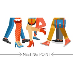 Men And Women Legs And Footwear vector image
