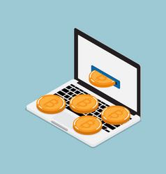 mining bitcoin from laptop vector image