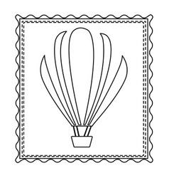 monochrome contour frame of hot air balloon vector image