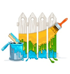 White fence painting vector image vector image