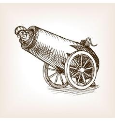 Circus human cannon sketch vector image