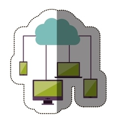 Color sticker with cloud service network vector