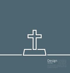 Logo of gravestone in minimal flat style line vector image