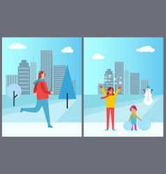 people cityscape collection vector image vector image