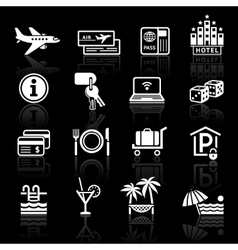 recreation travel vacation icons set vector image