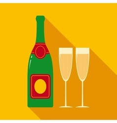 Champagne Bottle and Two Glasses vector image