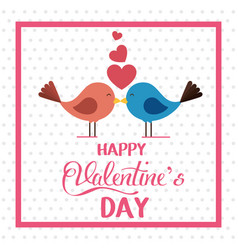happy valentines card with cute bird couple in vector image
