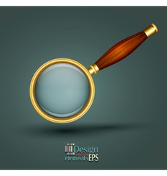 icon magnifier with wooden handle vector image