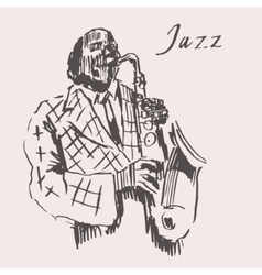 JAZZ Man Playing the Saxophone Hand Drawn Sketch vector image