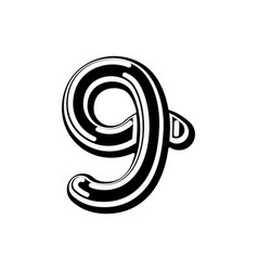 Number 9 celtic font norse medieval ornament abc vector