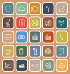 Restaurant line flat icons on orange background vector image vector image