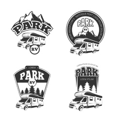 RV and campers emblems labels badges vector image