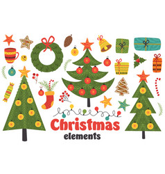 Set of isolated christmas elements vector