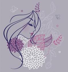woman profile flowers backer vector image