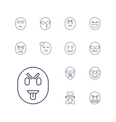 13 funny icons vector