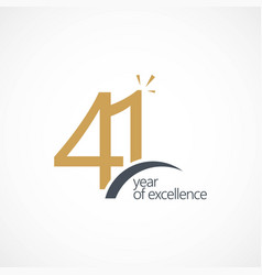 41 year excellence template design vector image