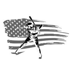 a baseball player hitting vector image