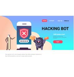 arabic man incorrect password hacking bot vector image