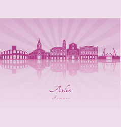 Arles skyline in purple radiant orchid vector