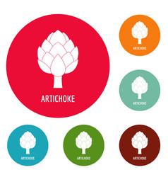 artichoke icons circle set vector image