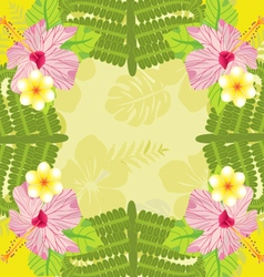 background Tropical plants and flowers Pattern vector image