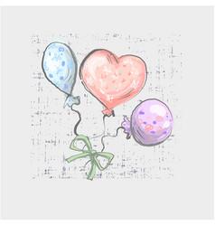 Balloon set on grunge background cute childish vector