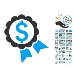 Bank Award Stamp Icon With 2017 Year Bonus Symbols vector