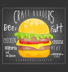 big burger on black background vector image