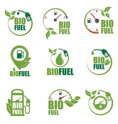 Bio fuel station icon set vector