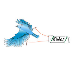 bird is flying and holding a sign vector image