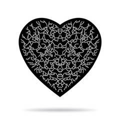 Black heart with gray pattern and shadow vector