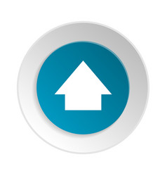 Blue circle shape internet button with up sign vector