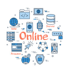 blue round online concept vector image