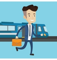 Businessman at train station vector