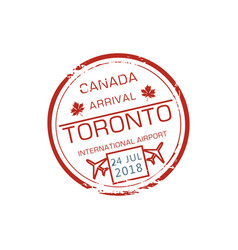canada arrival stamp isolated visa control sign vector image