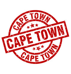 Cape town red round grunge stamp vector