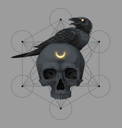card with black skull and raven vector image