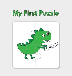 cartoon dinosaur puzzle template for children vector image