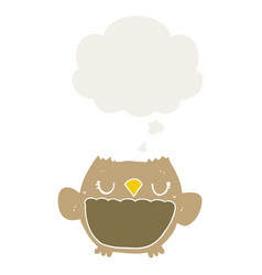 Cartoon owl and thought bubble in retro style vector