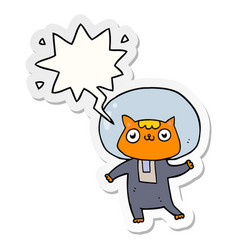 Cartoon space cat and speech bubble sticker vector