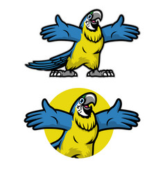 cheerful cartoon blue and gold parrot bird vector image