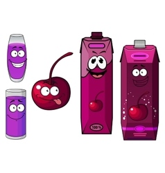 Cherry juice and fruit cartoon characters vector image