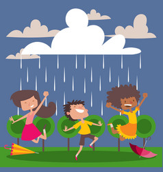 children enjoy rain vector image